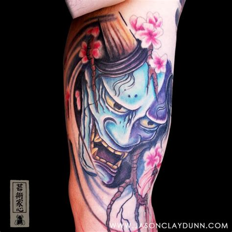tattoo mascara de hannya e flor de cerejeira tatuagem foto