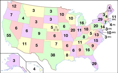 map of the us electoral votes electoral college united states