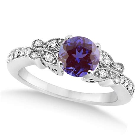 butterfly alexandrite engagement ring 14k white