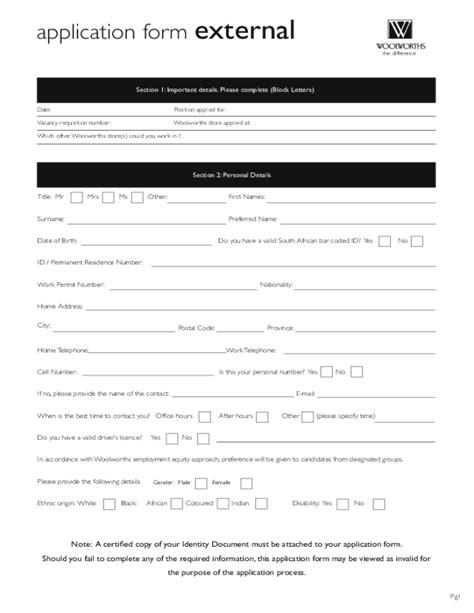 printable job application form coles free printable woolworths job application form