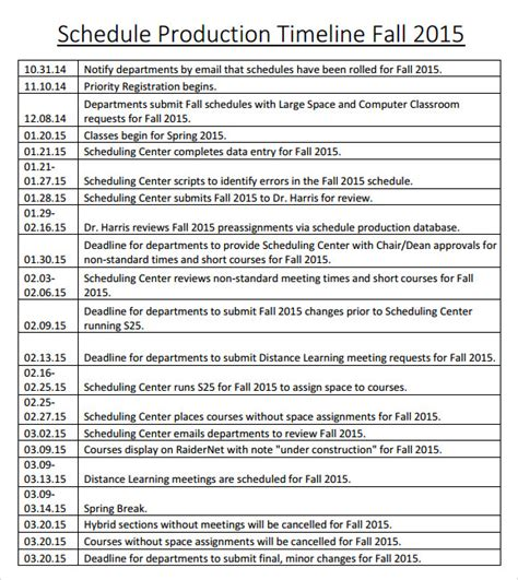 sle production timeline 10 exles format