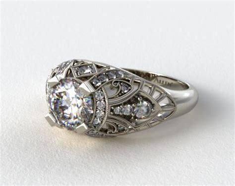 14k white gold fleur de lis engagement ring 17907w14
