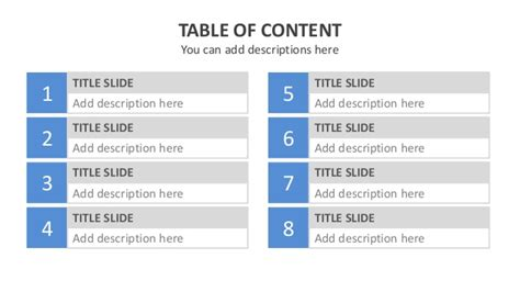 powerpoint layout title text content template powerpoint quot table of content quot