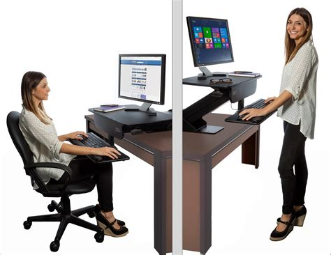 ergonomic sit stand desk adjustable height gas spring easy lift standing desk sit