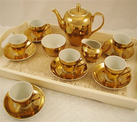 antique gold coffee vintage gold coffee or tea set coffee pot six cups and