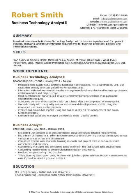 Business Analyst Information Technology Resume by Business Technology Analyst Resume Sles Qwikresume