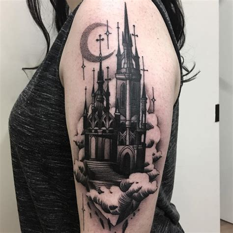 haunted castle abstract piece best tattoo design ideas