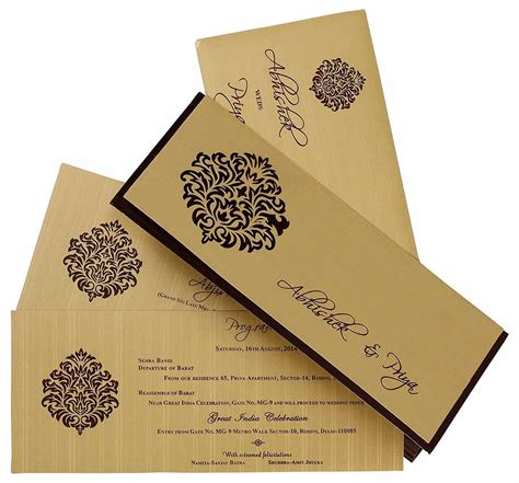 Wedding Cards by Indian Wedding Card In Brown And Golden With Cutout Design