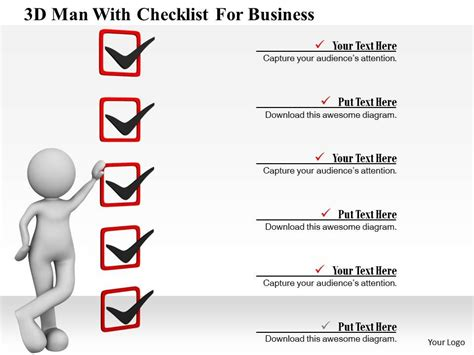 0115 3d Man With Checklist For Business Ppt Graphics Icons Powerpoint Shapes Powerpoint Powerpoint Checklist Template
