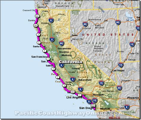 us highway one map california central coast road trip