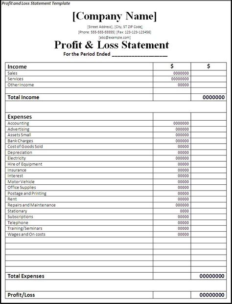 business p l template printable profit and loss statement free word s templates