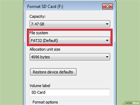 format fat32 fat16 een sd kaart formatteren wikihow