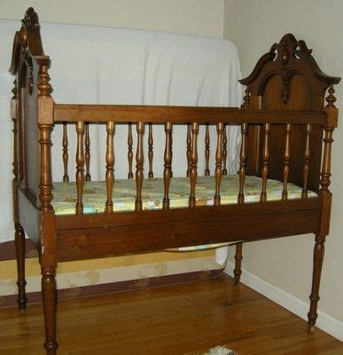 antique victorian baby crib walnut frame child bed