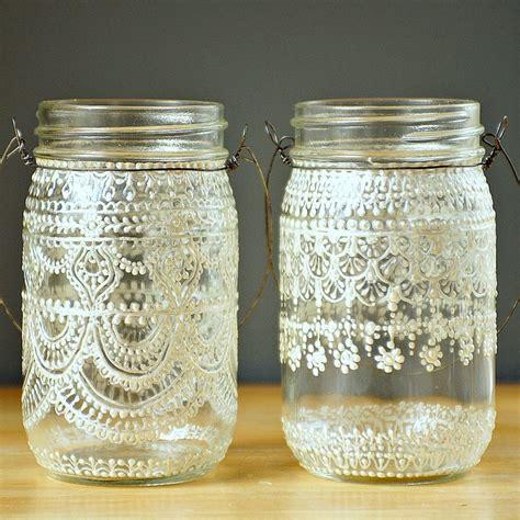 hand painted mason jar moroccan lantern vintage lace