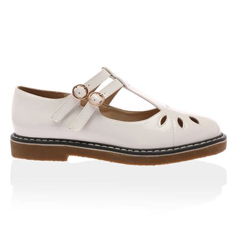 t shoes flats womens cut out t bar buckle