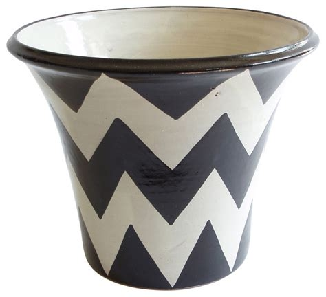 black and white planters zigzag planter black white craftsman indoor pots and planters by emilia ceramics