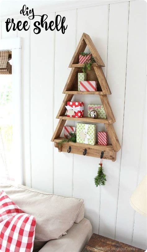 christmas woodworking ideas tree wall shelf