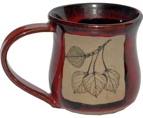 rustic mugs aspen leaf 14 oz mug rustic mugs by alan yarmark