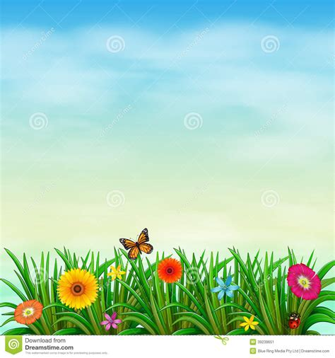 flower garden with butterflies a flower garden with a butterfly and a ladybug stock