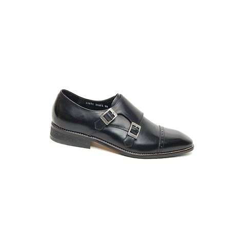 mens black two buckle monk tip dress shoes made