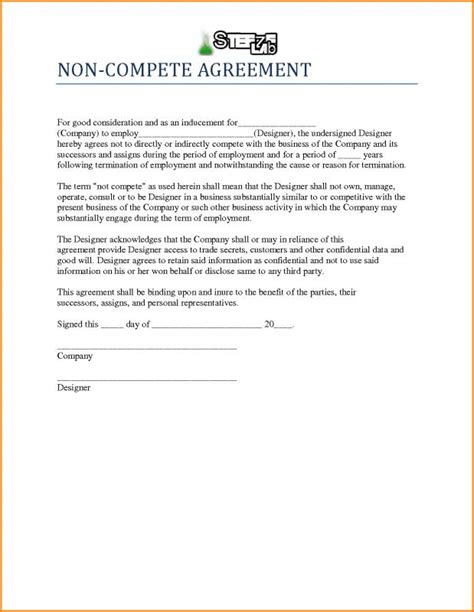 business templates noncompete agreement non compete agreement template template business