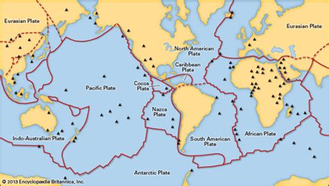 movement of lithospheric plates diagram lithosphere plates with spots encyclopedia
