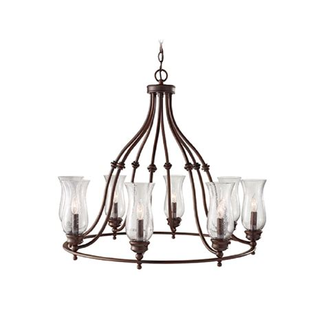 Farmhouse Style Chandelier Country Style Hoop Chandelier In Heritage Bronze With L Shades