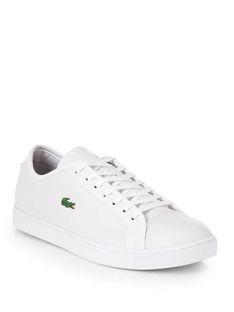 lacoste leather sneakers lyst lacoste leather tennis shoes in white for