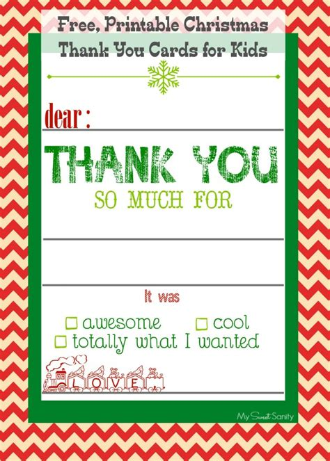 printable thank you holiday cards free free printable christmas thank you cards for kids my