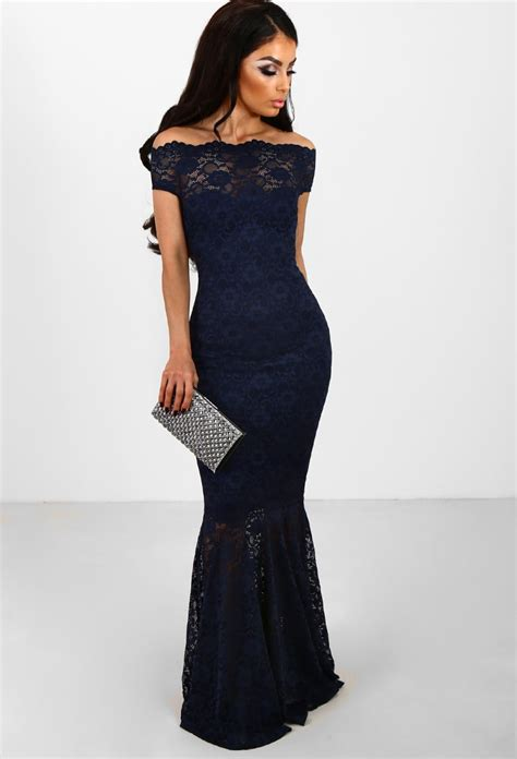 Anastasya Maxy Pink navy lace fishtail maxi dress dressi