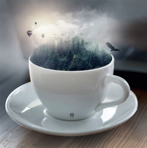 cup fantasy digital art photoshop tutorial  behance