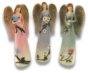 decorative figurines carved wood look figurine holding flowers set of 3