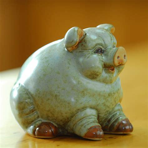 Oak Manor mini cute Zodiac pig ceramic craft decoration
