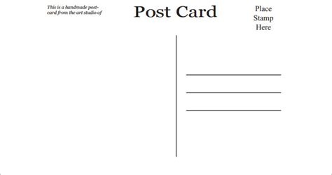 Blank Postcard Template Free Premium Templates Photo Postcard Template