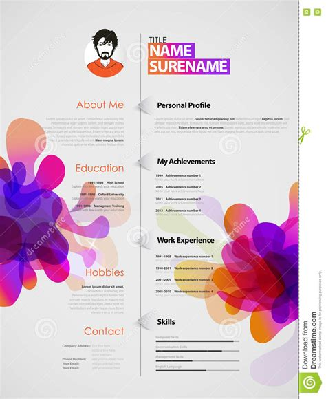 resume template in white color free vectors ui download