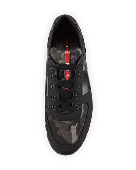Prad Org Address Search Prada Camo Print Running Sneaker Black Gray