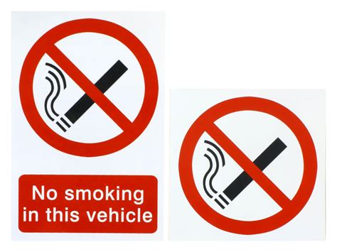 no smoking sign for vehicles halfords no smoking in this vehicle stickers pack 2 pieces