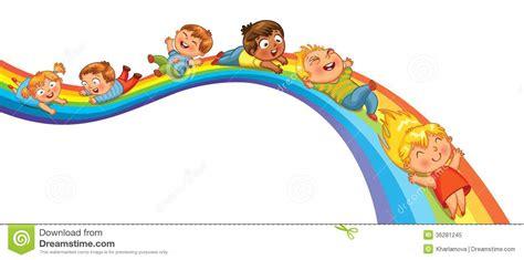 si鑒e enfant pour v駘o children ride on a rainbow royalty free stock photo