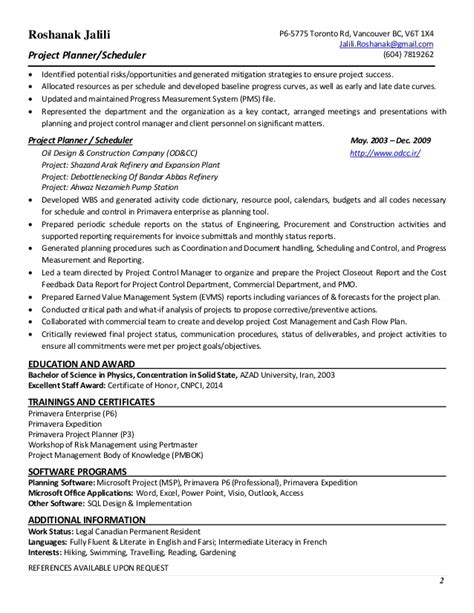 Project Scheduler Resume by Planner Scheduler Resume Resume Ideas
