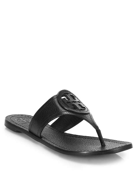 toryburch sandals lyst burch louisa leather sandal in black