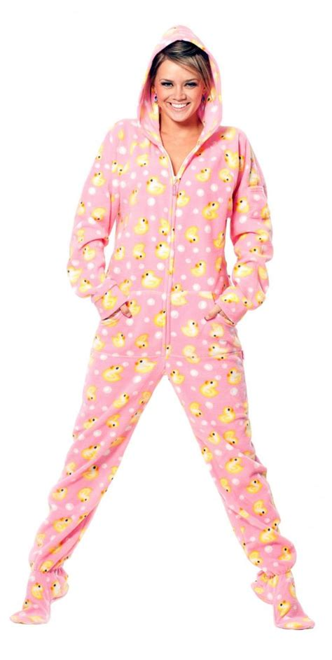 drop seat hoodie pajamas for adults my cozy lounging winter style pink duckie drop seat