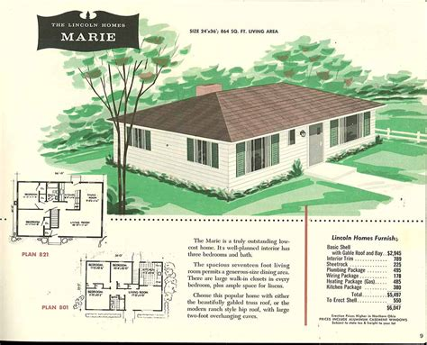 One Story House Plans With Porch by Factory Built Houses 28 Pages Of Lincoln Homes From 1955