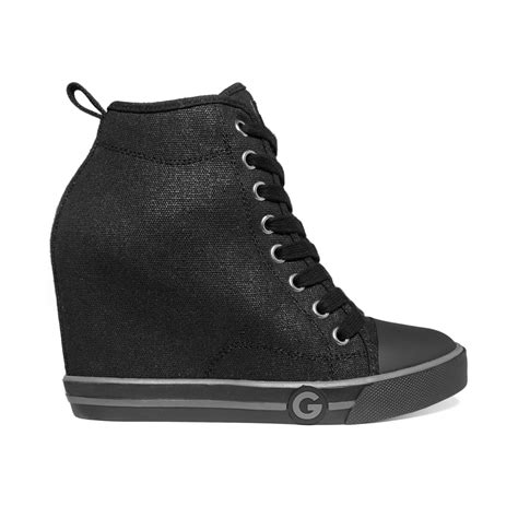 wedge sneakers black g by guess womens majestey wedge high top sneakers in