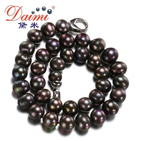 daimi big size black pearl necklace 11 12mm freshwater