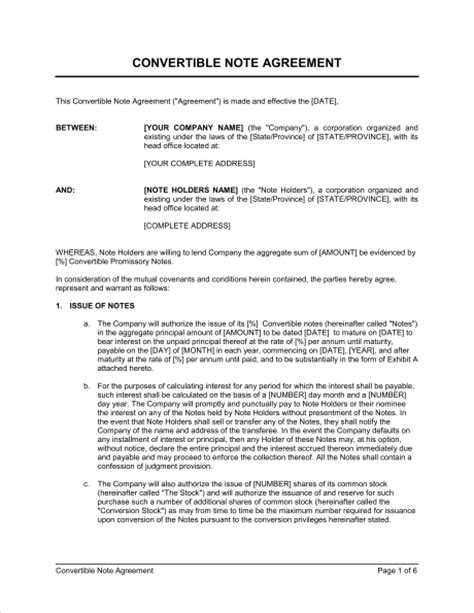 convertible loan note template convertible note agreement template sle form biztree