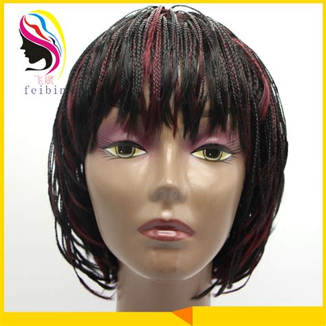 Afrian Amerian Wigs With Micro Braids | synthetic box micro braid lace wig hair braided wigs for