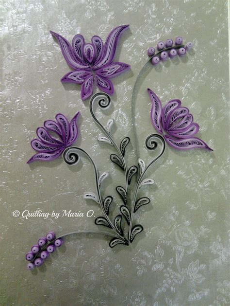 flower pattern for quilling purple frame quilled by maria oroian my quilling