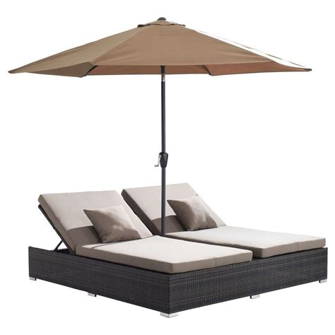 double chaise lounge patio zuo espresso atlantic double patio chaise lounge with