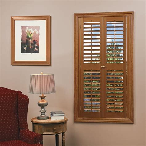 homebasics plantation faux wood oak interior shutter