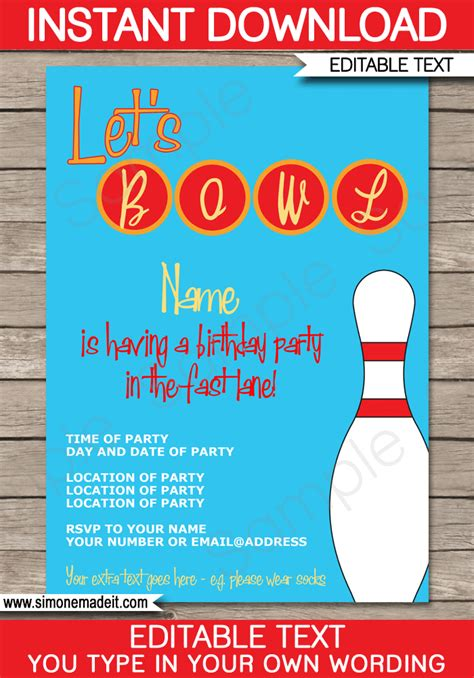 bowling birthday invitations free templates bowling invitations template birthday